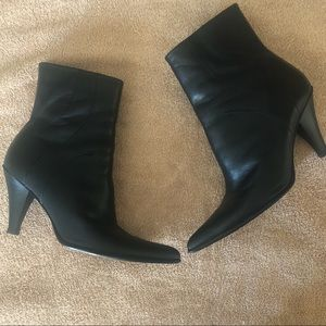 BCBG Black leather zip up ankle boots